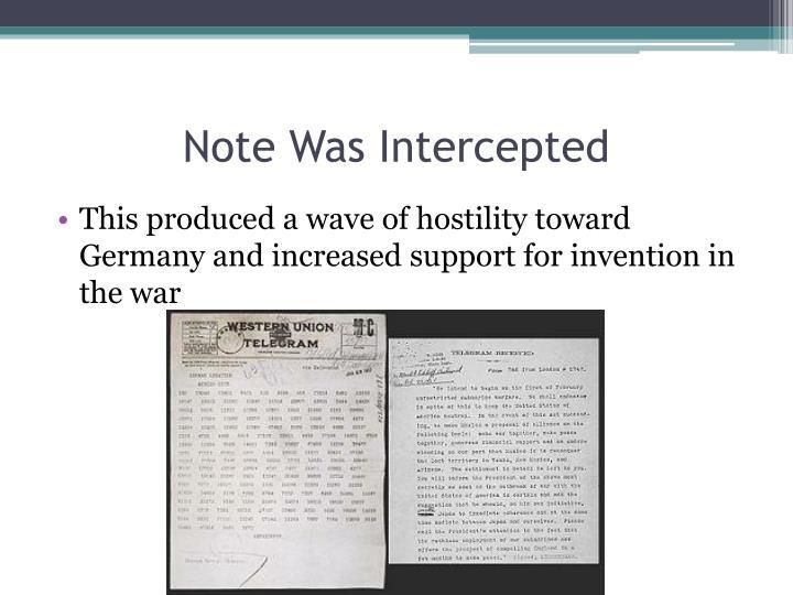Note Was Intercepted