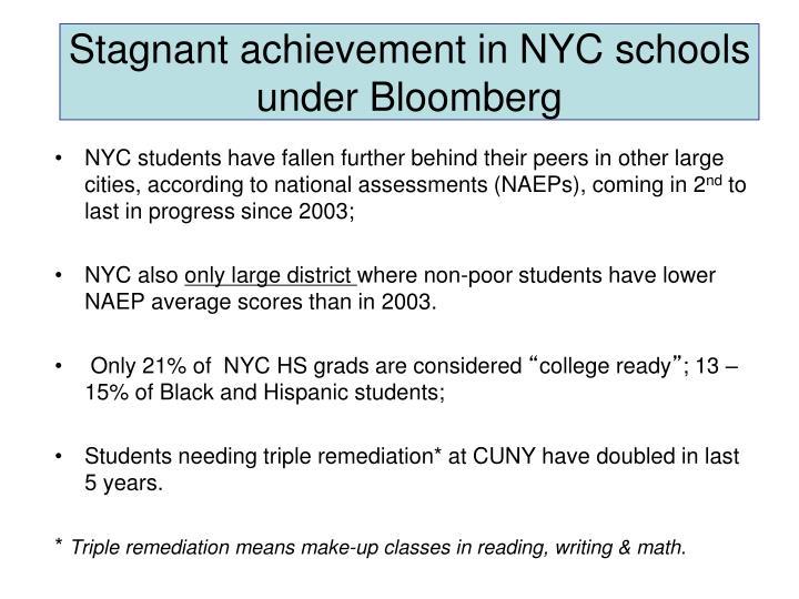 Stagnant achievement in nyc schools under bloomberg