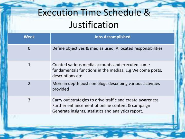 Execution Time Schedule & Justification