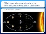 what causes the moon to appear in different phases throughout the month