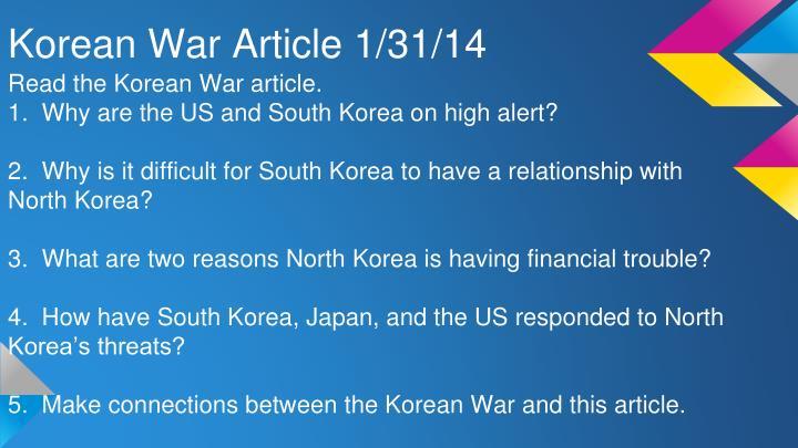 Korean War Article 1/31/14