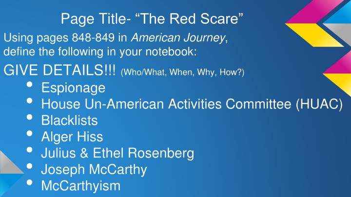 """Page Title- """"The Red Scare"""""""