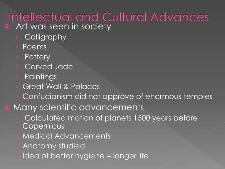 Intellectual and Cultural Advances