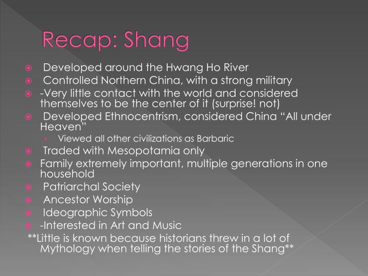 Recap: Shang