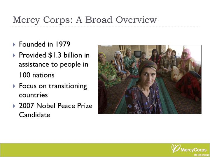 Mercy Corps: A Broad Overview