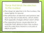 force that binds the electron to the nucleus