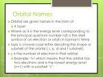 orbital names