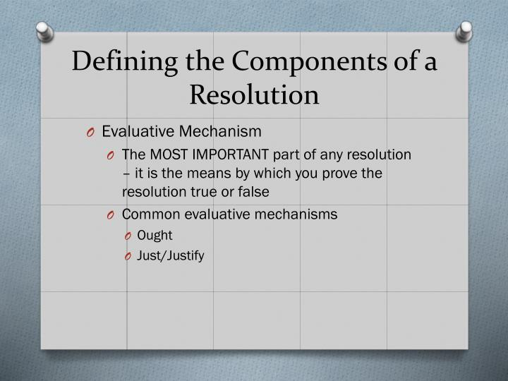 Defining the Components of a Resolution
