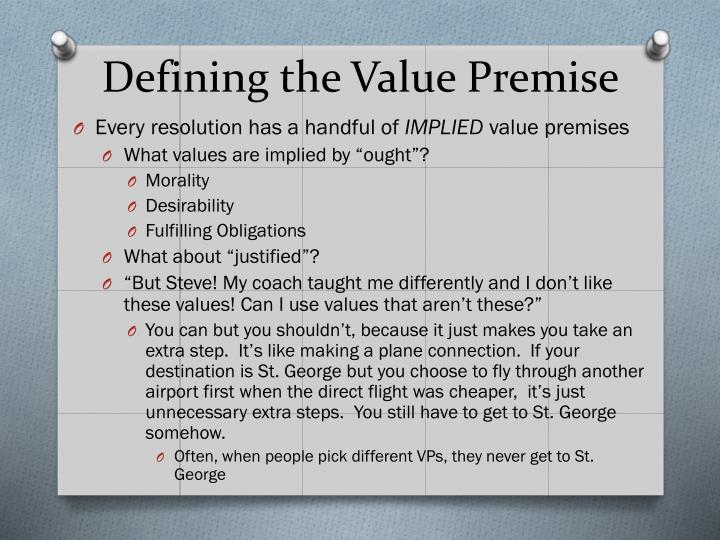 Defining the Value Premise