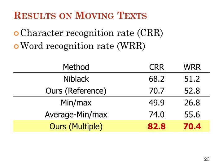 Results on Moving Texts