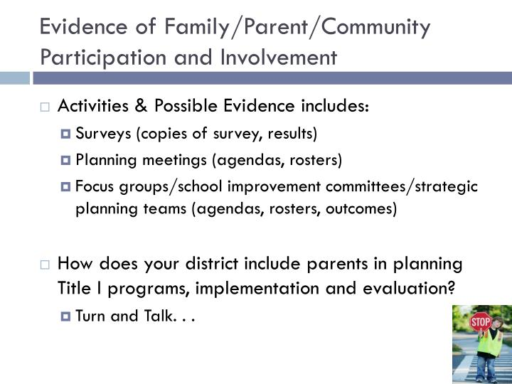 Evidence of Family/Parent/Community Participation and Involvement