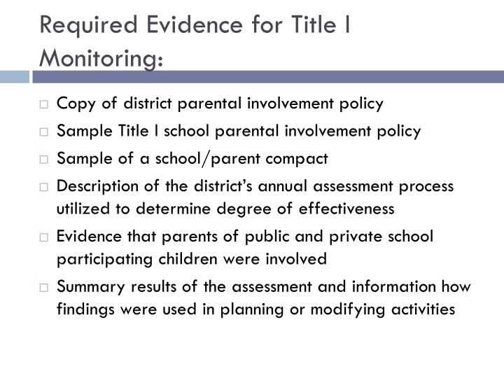Required Evidence for Title I Monitoring: