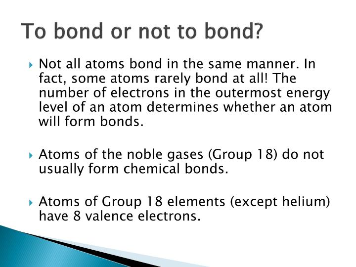 To bond or not to bond?