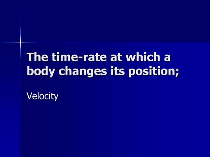 The time-rate at which a body changes its position;