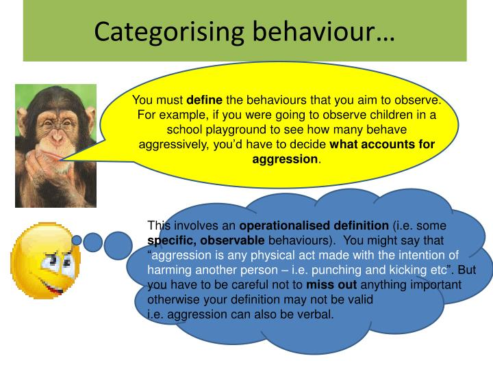 Categorising behaviour…