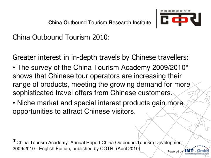 China Outbound Tourism 2010: