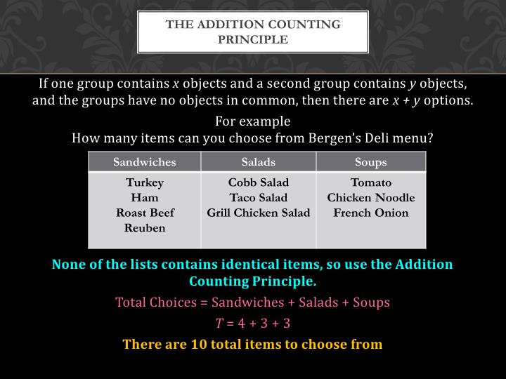 The addition counting principle
