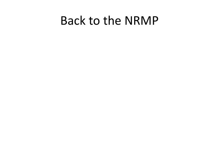 Back to the NRMP