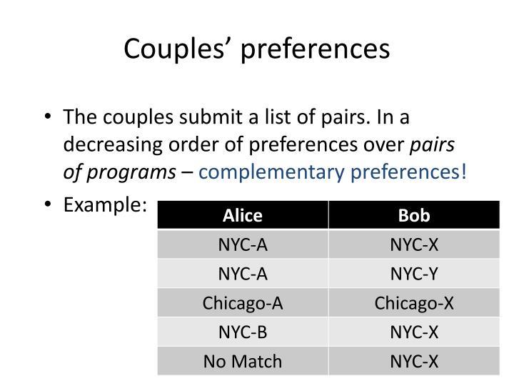 Couples' preferences