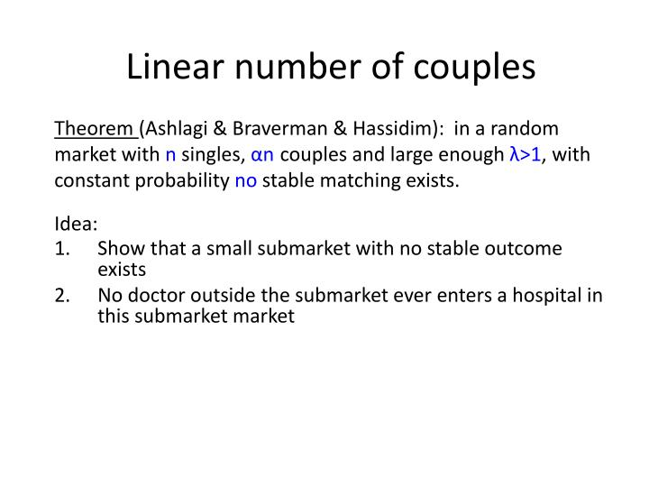 Linear number of couples