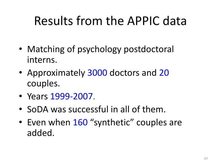 Results from the APPIC data