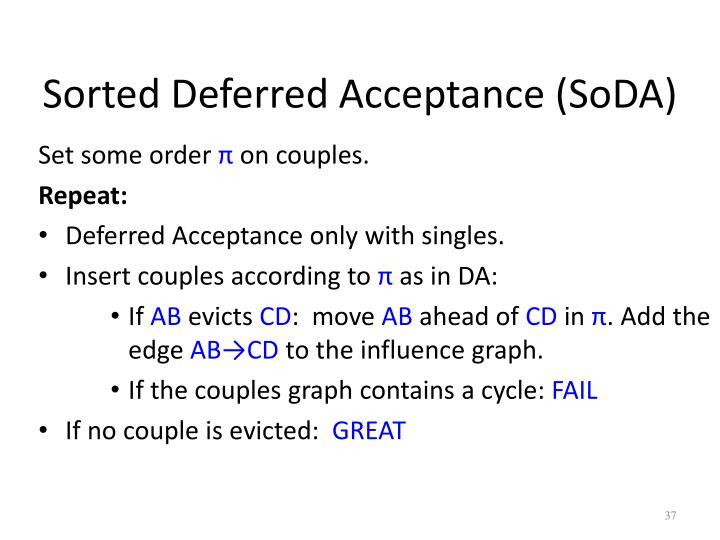 Sorted Deferred Acceptance (SoDA)