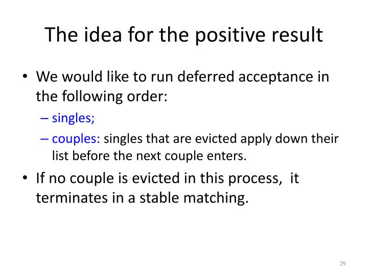 The idea for the positive result