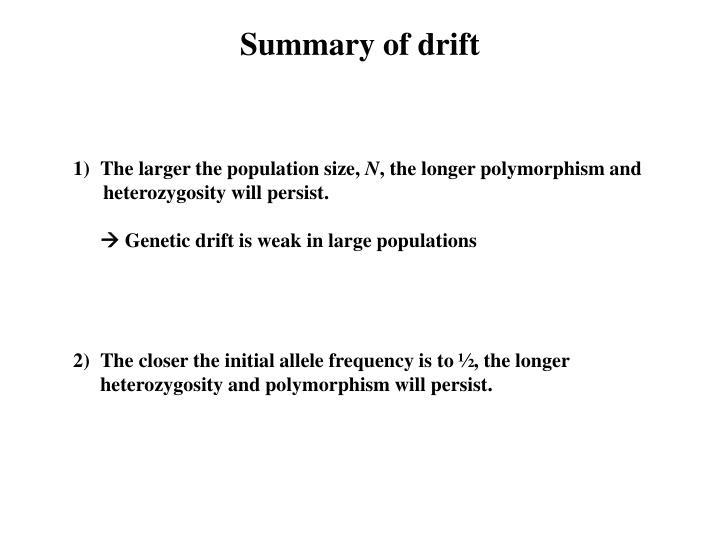 Summary of drift