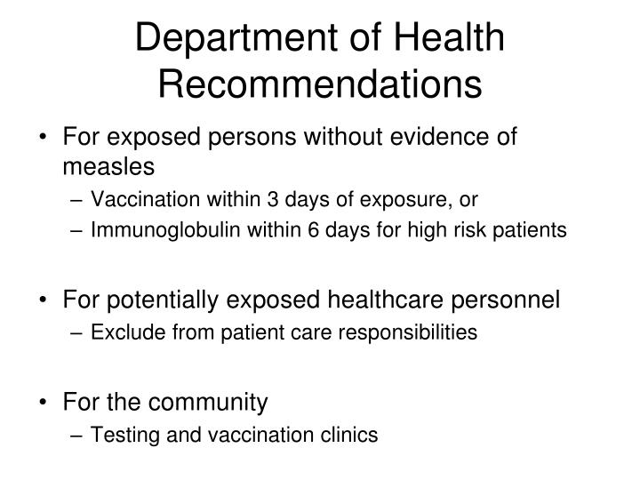 Department of Health Recommendations