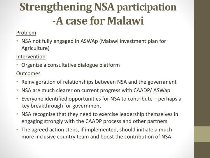Strengthening NSA
