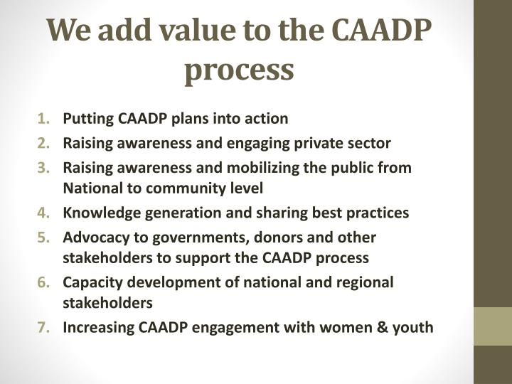 We add value to the CAADP process