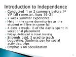 introduction to independence
