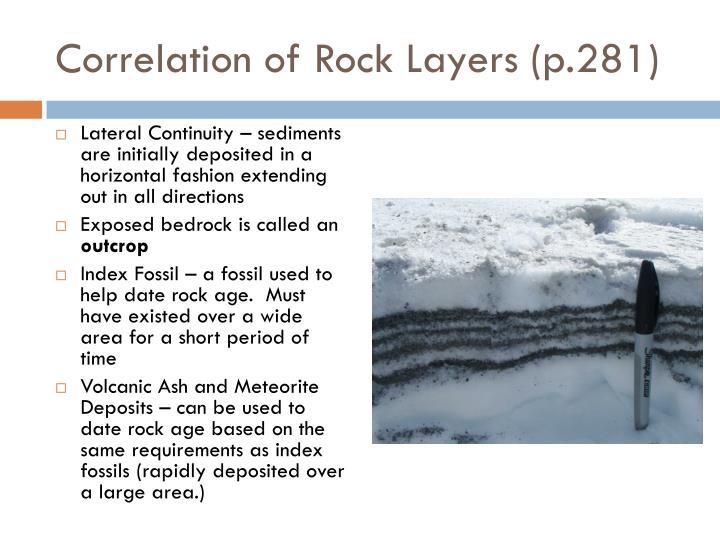 Correlation of Rock Layers (p.281)