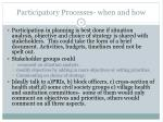 participatory processes when and how