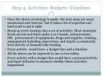 step 4 activities budgets timelines