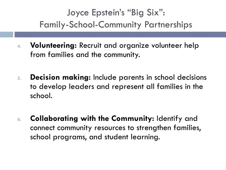 """Joyce Epstein's """"Big Six"""":"""