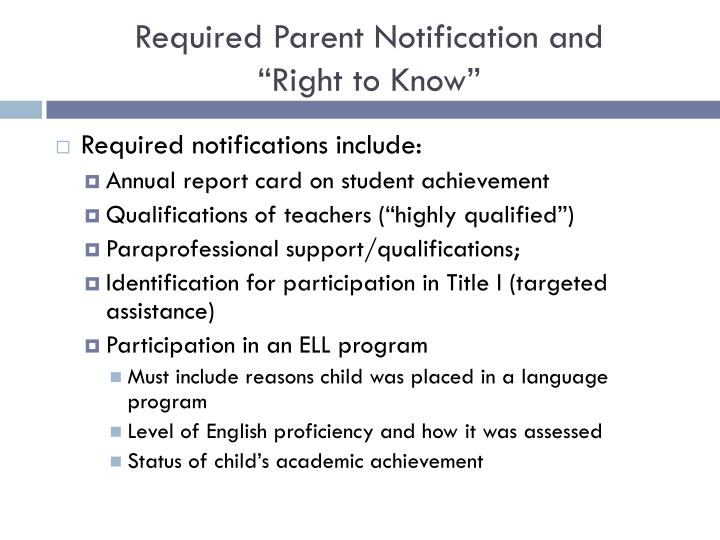 Required Parent Notification and