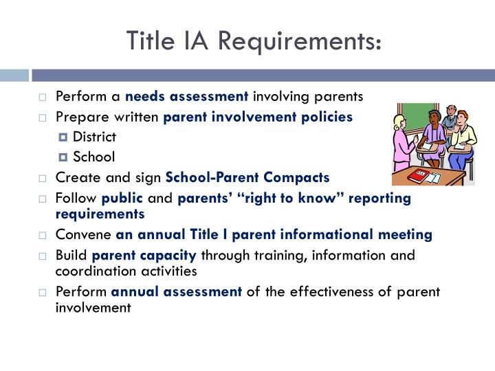 Title IA Requirements: