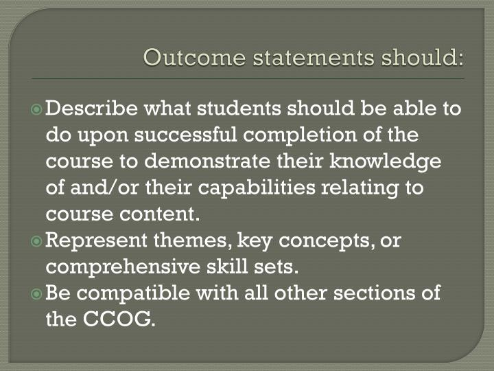 Outcome statements should: