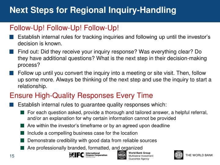 Next Steps for Regional Inquiry-Handling