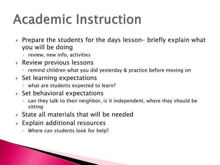 Academic Instruction