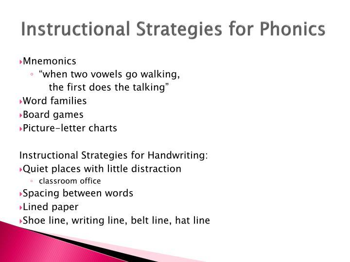 Instructional Strategies for Phonics