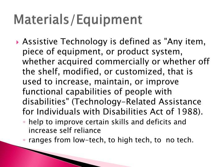 Materials/Equipment