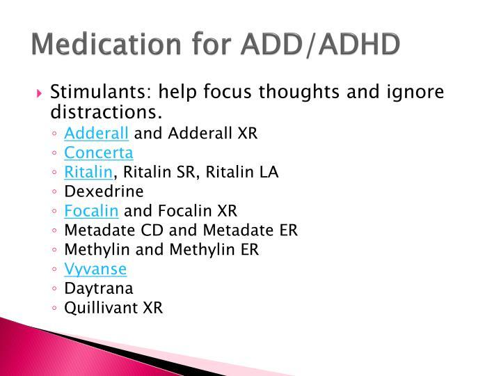 Medication for ADD/ADHD