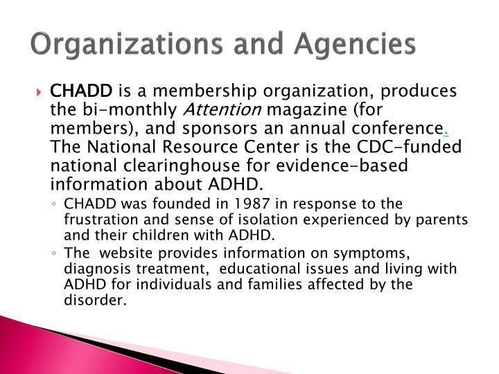 Organizations and Agencies