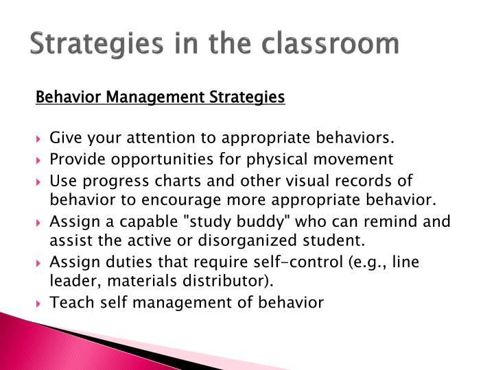Strategies in the classroom