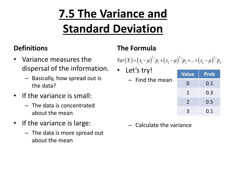 7 5 the variance and standard deviation n.