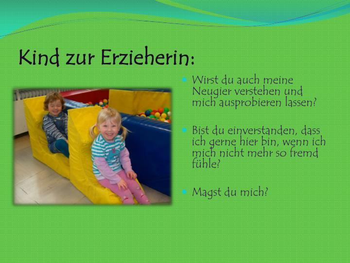 Kind zur Erzieherin: