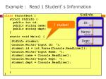 example read 1 student s information
