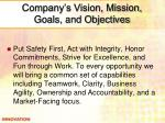 company s vision mission goals and objectives